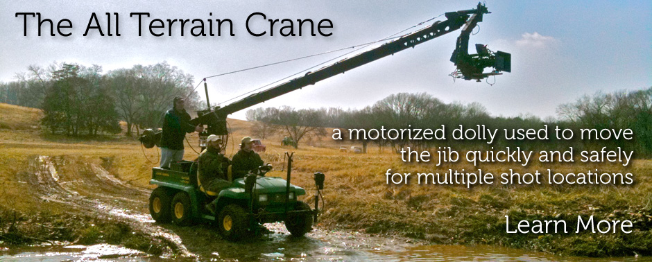 The All Terrain Crane is a motorized dolly platform used to move the jib quickly and safely for multiple shot locations.